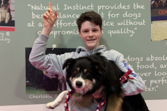 Rory and Sonic - Natural Instinct stand at Crufts 2019/20